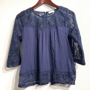 Full Tilt | 3/4 Sleeve Blue with Lace Sz S